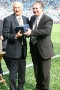 40 Brian Hill presented with memento by Paul Fletcher (CCFC)