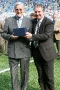 44 Jimmy Hill presented with memento by Paul Fletcher (CCFC)