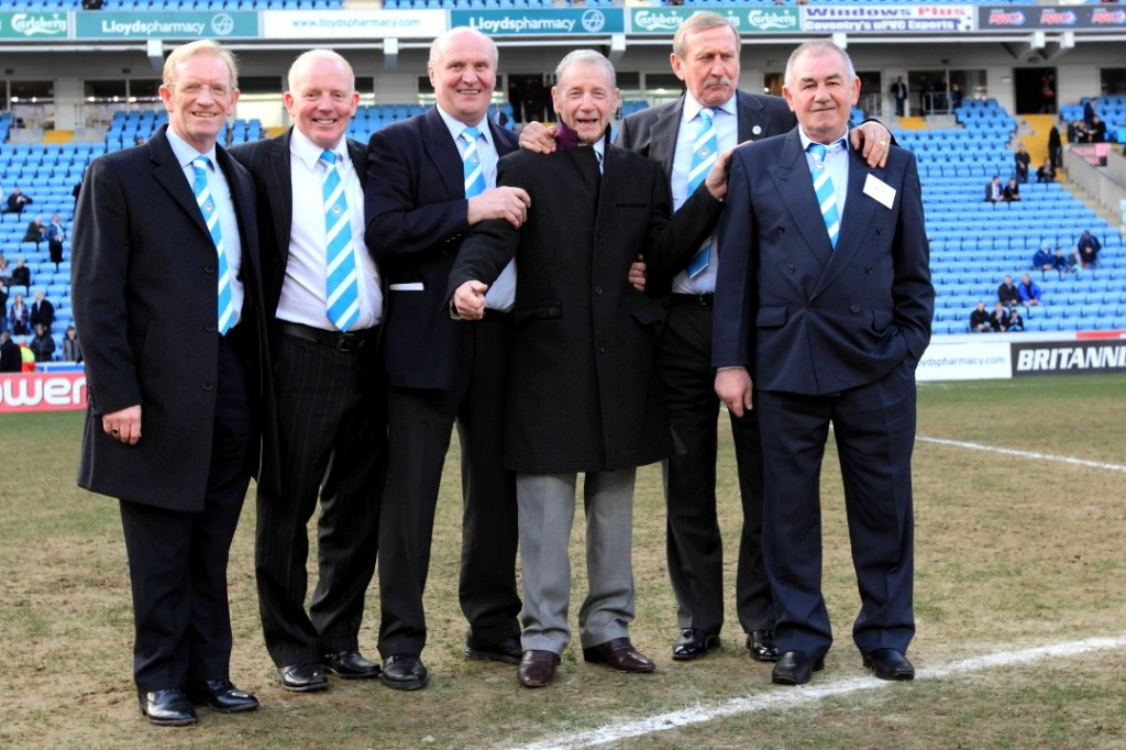 Willie (left) in an all Scottish team at Legends Day 2013 with (L-R) Ian Wallace; Colin Stein; the late Gerry Baker; Tom Hutchison & Quintin Young