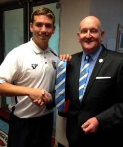 Cody presented with his Association tie earlier this year by CCFPA's Frank Pritchard