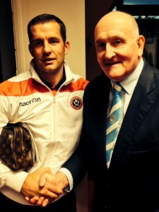 Michael with CCFPA's Frank Pritchard after a previous gmae with the Blades