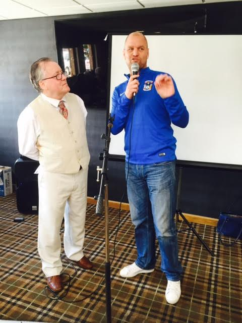 Bussty extols the virtues of Walking Football to Gerry.