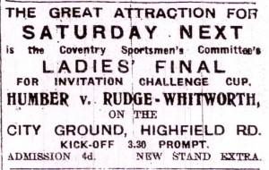 XX Advert - Rudge Whitworth v Humber at Highfield Rd (h) 12-04-1918 (MDT 05-04-1918)a