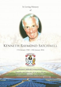 Ken Satchwell Funeral order of service (front)