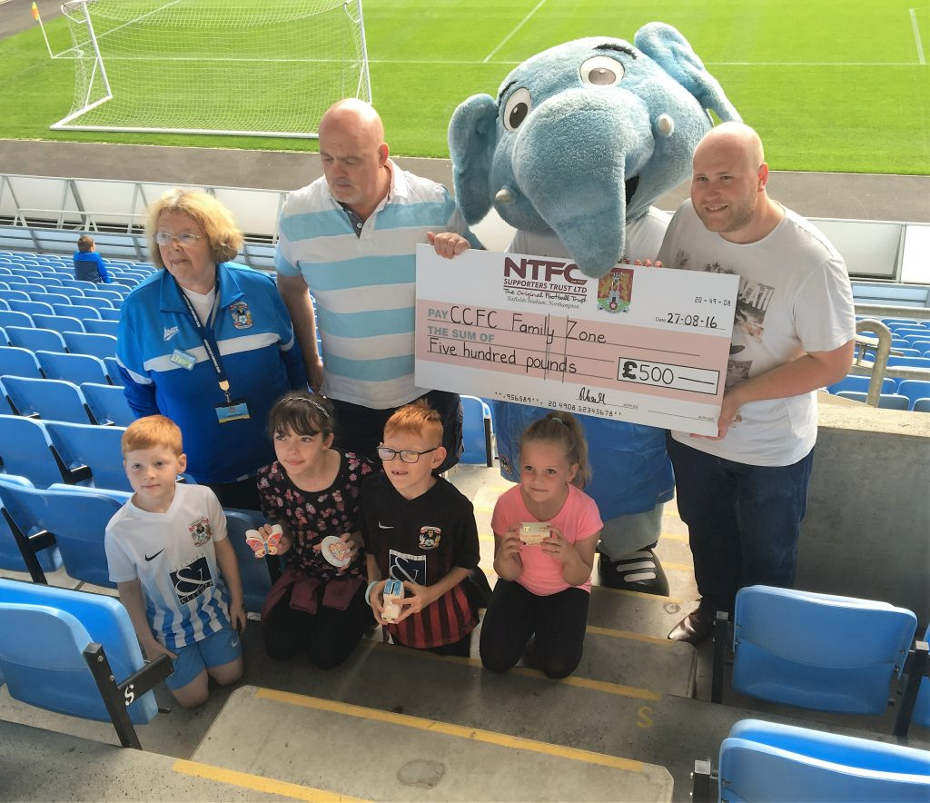 The Donation Cheque Displayed in the Ricoh before the game